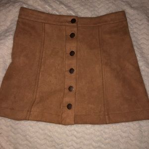 Brown, button down, suede skirt